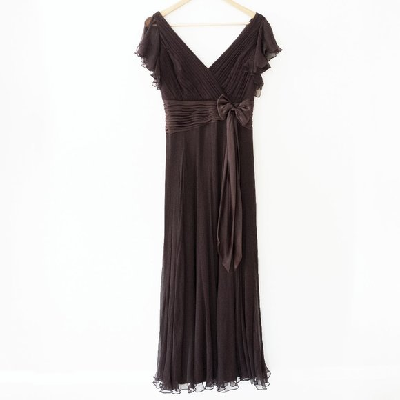 Tadashi Collection Silk Flutter Sleeve Gown